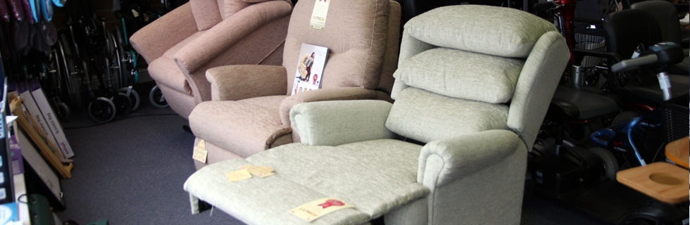 A range of mobility reclining chairs