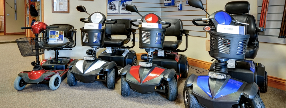 Images of the 4 main types of mobility scooters